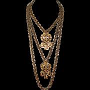 REDUCED Crown Trifari Double Pendant Necklace Gold Tone