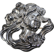 REDUCED Vintage Marked Sterling Art Nouveau Woman Brooch