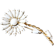 REDUCED Vintage Juliana White Milk Glass Flower Pin