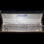 REDUCED Stunning Vintage Kramer NY WIDE Rhinestone Bracelet