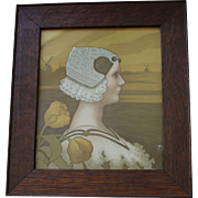 REDUCED Antique Paul Berthon Lithograph Portrait of Queen Wilhelmina in Wood Frame