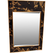 LaBarge Chinoiserie Reverse Painted Gold Leaf Mirror