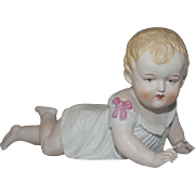 REDUCED Vintage German Porcelain Bisque Piano Baby Figurine