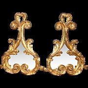 REDUCED Pair Italian Rococo Gilt Double Lobe Wall Mirrors