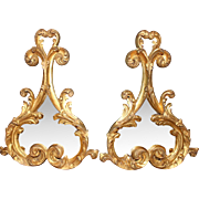 REDUCED Pair Italian Rococo Gilt Double Lobe Mirrors