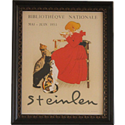 REDUCED Steinlen Bibliotheque Nationale 1953 Lait Pur Sterilise Cats Framed Vintage Poster