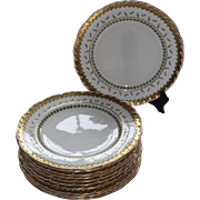 REDUCED Set of 11 Mintons for Davis Collamore Dinner Plates w/ Gold Encrusted Trim