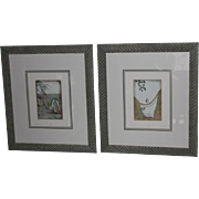 "REDUCED Pair of 25"" Dan Mitra Limited Edition Pencil Signed Framed Etchings 94/350 and .."