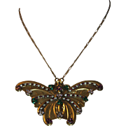 REDUCED Vintage Unique SADIE GREEN Butterfly Gold tone & Rhinestone Necklace