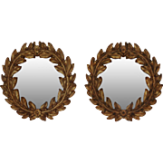 "REDUCED Pair of Roberto Giovannini Hand Carved & Gilded 15.7"" Round Wall Mirrors Laurel L"