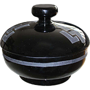 REDUCED Art Deco Jean Luce Black Lidded Bowl