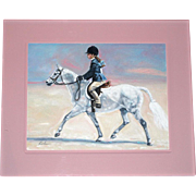 REDUCED Lila Blakeslee Horse Painting in Lucite Frame