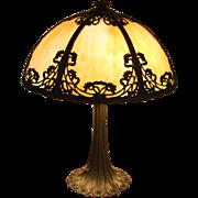 REDUCED Art Nouveau 6 Panel Slag Glass Lamp
