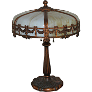 Antique Miller 6 Panel Slag Glass Lamp
