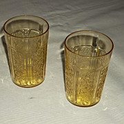 SALE Federal Depression Glass Sharon Cabbage Rose 9 oz. Tumblers – lot of 2