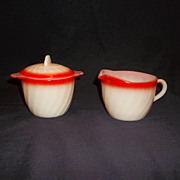SALE Fire King Sunrise Swirl Sugar w/lid & Creamer Set