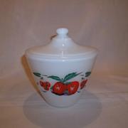 Fire King Apple & Cherries Grease Jar & Lid
