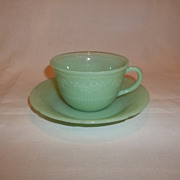Fire King Jadeite Alice Cup & Saucer Set
