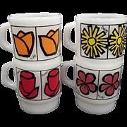 SALE Fire King Pop Floral Mugs-Set of 4 –