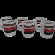 Fire King Stacking Red Black Striped Mug-Lot 6