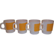 SALE PENDING Fire King Anchor Hocking Yellow Gingham Coffee Mugs lot of 4
