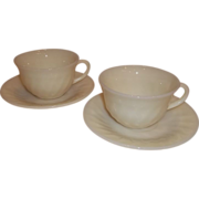 Fire King Ivory Swirl Cup & Saucer Set – Lot of 2