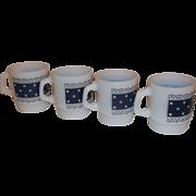 Fire King Stacking Mugs Blue Lace Polka Dot-Set of 4