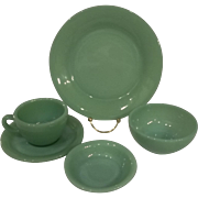 SALE PENDING Fire King Jadeite Restaurant Ware –Five Piece Place Setting –2 sets Available