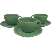 Fire King Jadeite Restaurant Ware Coffee Mug/ Cup & Saucer set-3 available