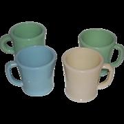 Fire King Rare Mugs-Turquoise, Jadeite, Flat Bottom, Philbe