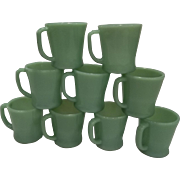 "Fire King Jadeite ""D"" Handle Coffee Mugs"