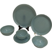 Fire King 6 Piece Turquoise Blue Place Setting