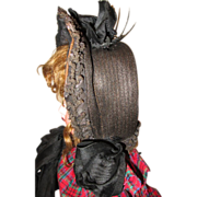 SALE PENDING Beautiful antique dolls straw hat.