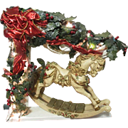 Vintage Christmas Rocking Horse display with lights