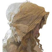 Gorgeous netted antique doll hat