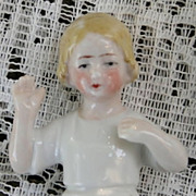 SALE Arms away Child Porcelain Half doll, Germany