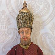 SALE Early Wood and Papier Mache Italian Crèche Figure Gentleman
