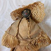 Early Folk Art Nut Head Lady Doll