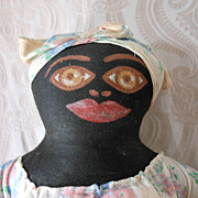 SALE Black Cloth Doll with Painted Face