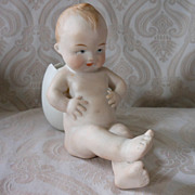 Gebruder Heubach Bisque Figurine with Egg Container