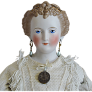 German Bisque Head Countess Dagmar Doll with Café Au Lait Decorated Hair