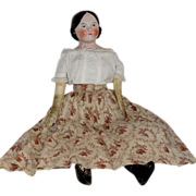 Kestner German Glazed Porcelain Covered Wagon China Head Doll with Brown Eyes