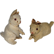 Darling Pair of Doll House Size German Bunny Rabbits