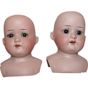 SOLD Twin German Bisque Doll Heads by Ernst Heubach