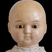 SALE PENDING Early German Wax over Papier Mache Taufling Baby