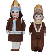 German All Bisque Native American Children Doll Pair