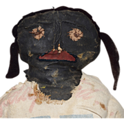 SOLD Vintage Primitive Black Cloth Doll with Embroidered and Appliqué Face