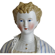 German Bisque Parian Head Doll with Fancy Hairstyle by Kling