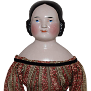German Kister Glazed Porcelain China Head Covered Wagon Hairstyle Doll