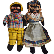 Black Cloth Americana Folk Art Doll Pair